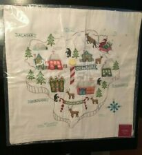 Pottery Barn CHRISTMAS NORTH POLE MAP EMBROIDERED PILLOW COVER, NWT