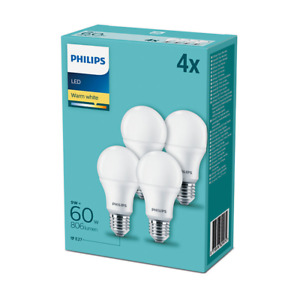 4 Pack - Philips Frosted LEDBulb ND 9W(60W) E27/ES Edison Screw 2700k Warm White