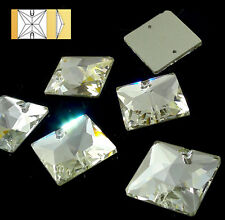 22 mm Crystal Clear Square Sew On Flat Back Rhinestones - 8 Pieces