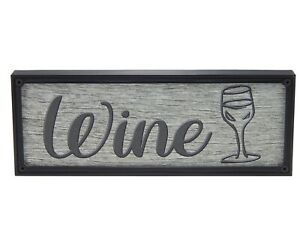 Wine Word Art Sign Home Kitchen Decor Wall Hanging Cursive Script Typography