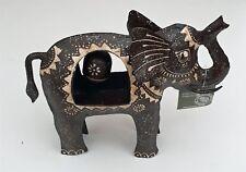 Elephant Wind Chime Bell dessus de table fer Marron Crème Commerce équitable Jardin 19 cm NEUF
