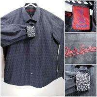 Robert Graham Mens 43/17 L/XL Geometric Shirt Long Sleeve Button Up Flip Cuff