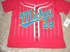 3T Mickey Mouse Red Baseball Tee Shirt NWT Disney Parks 2 Sided