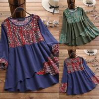 Vintage Femme 100% coton Mache Longue Imprimé floral Patchwork Haut Shirt Plus