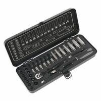"""Sealey Socket Set 32pc 1/4""""Sq Drive 6pt WallDrive® Metric Black Series AK7970"""
