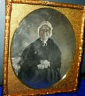1/6th size Scovills Daguerreotype of older Lady in brass mat/frame