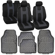 Black/Charcoal Striped Seat Covers Full Set w/ Shiny Metallic Carbon Floor Mats