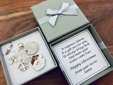 LUCKY SIXPENCE CHARM, SECRET SANTA, CHRISTMAS present, GIFT BOX