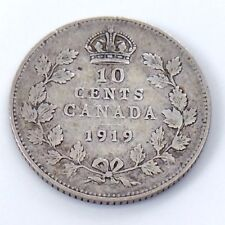 1919 Canada Ten 10 Cents Small Sterling Silver Dime Circulated Coin H564z
