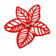 Metal Wall Clock Modern Unique Large Red Paradise Home Decor FREE SHIPPING