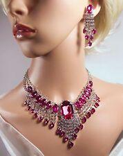 Stunning, Hot Pink Rhinestone & Diamante Necklace & Earrings  (NB042P)