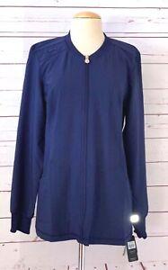 NWT CHEROKEE Infinity Nurse Scrub Jacket Womens Size M Navy Blue Stretch