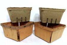 VTG Pair of (2) Slat Wood Berry Fruit Baskets Containers with Paper Pulp Liners