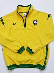 Nike Anthem Brazil Soccer Jacket warm up Yellow Green Size Large vtg NIke Tag