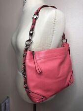 Coach Leather Chain Shoulder Bag Purse Handbag Coral Pink