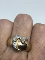 Vintage Golden Diamond Heart Ring 925 Sterling Silver Size 9