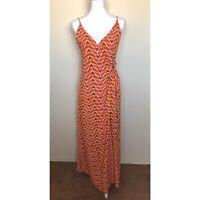 Free People Sz M Siren Orange Geometric Print Retro Wrap Maxi Dress Wood Ring