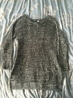 H&M Black And White Knitted Long Jumper Size Small