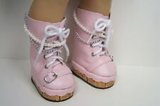 "PINK Chain-Pearl Platform Boots Doll Shoes For 18"" American Girl (Debs)"