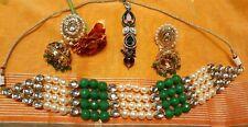 Bollywood Indian Green Kundan Pearl Imitation Fashion Choker and Jhumka Earrings