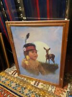 Native American Indian Girl Marjorie M Anderson Wood Picture Frame  20x16/22x18