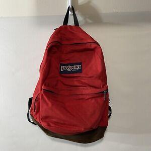 Jansport Backpack Vtg 90s USA Suede Leather Bottom School Book Bag Red
