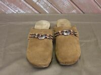 """Italian Shoemakers"" Clogs Brown Suede Leather Women's Size 7"