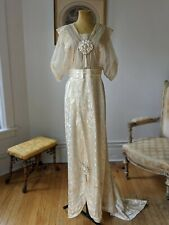 Antique Edwardian Dress Silk Damask Lace Wedding Titanic Era Dress 1900 1910s
