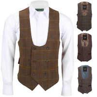 Mens Tweed Check Double Breasted Waistcoat Vintage Herringbone MOD Slim Fit Vest