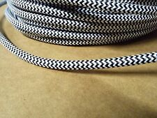 Simple Vintage 2-Wire Round Cloth Covered Wire Antique Lamp Cord Black & White