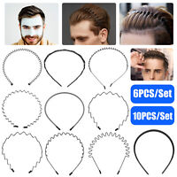 6/10/20pcs Metal Sports Hairband Headband Wave Style Hair Band Men Women Makeup