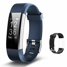 "Wrist Activity Fitness Tracker with Heart Monitor Blue & Black Id115PlusHr ""New"""