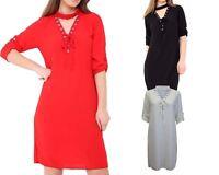 Womens Ladies Lace Up Eyelet Choker V Neck Chiffon Mini Shirt Dress Size UK 8-14