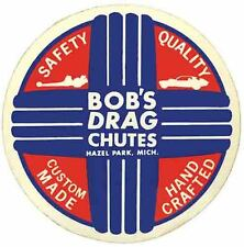 Bob's Drag Racing Chutes HOT ROD  1950's  Vintage Looking   Travel Decal Sticker