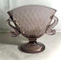 "Fenton Orchid Diamond Optic 6"" Dolphin Handled Fan Vase"