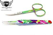 Eyebrow Tweezers Hair Beauty Stainless Steel Tweezer , Eyebrows  Scissors Set FW