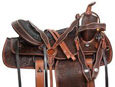 WESTERN PLEASURE TRAIL ANTIQUE LEATHER HORSE SADDLE TACK SET NEW 15 16