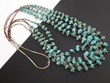 """Vintage Navajo Four Strand Heishi Blue Turquoise Nugget Sterling Necklace 34"""""""