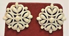 Gestempelt Trifari Crown Goldfarbig Weiß Emaille Runde Form Zum Anklipsen