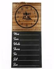 French Wall Hanging Wood Clock and Weekly Planner Organizer Memo Chalk Board