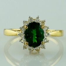 Chrome Diopside 1.31 Ct Wedding Rind Yellow Gold Plating 925 Silver Top Jewelry