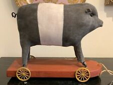 Antique Stuff Pig Pull Toy on Wooden Platform and Spoked Metal Wheels