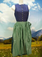 Original Alphorn Seide blau fesches feines Dirndl mit Schürze Gr.40