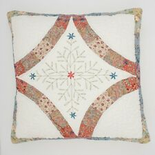 Angads Byron Bay quilted cushion cover with embroidered flowers 45x45