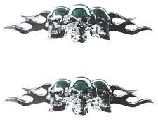 "2 Custom Chrome ""Flaming Skull"" Adhesive 3D Emblem - Hotrod Ratrod Hot Rat Rod"