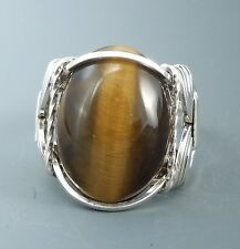Sterling Silver Tiger Eye Cabochon Wire Wrapped Ring