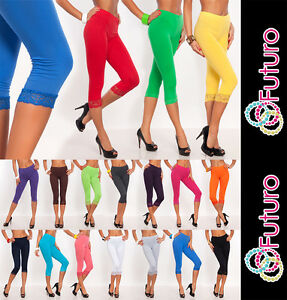 Womens Capri Leggings Cropped 3/4 Lenght Cotton with Lace Colour Mix Sizes 8-20
