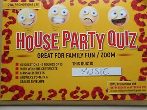 QUIZ = MUSIC THEMED/60 QUESTIONS/ANSWERS SEALED/WINNERS CERTIFICATE=FUN + GAMES