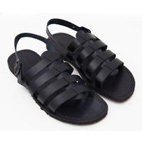 Sandali da uomo in pelle e cuoio BRAND 100% SALENTO artigianali fashion Neri