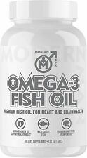 Modern Man Omega 3 Fish Oil Burpless, Extra Strength, More EPA & DHA-2Mo. Supply